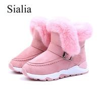 Sialia Children Boots For Girls Shoes Boys Snow Boots Kids Shoes Plush Warm Buckle Strap Ankle Outdoor Fashion bota infantil
