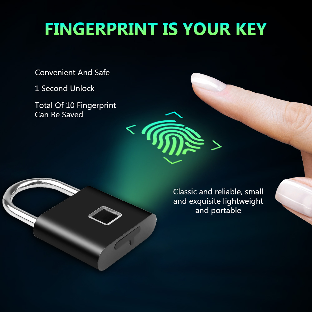 USB Rechargeable and Keyless Smart Fingerprint Padlock for Luggage and Cabinet with Anti-Theft Security 1
