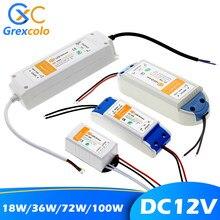 12 v adaptador de alimentação 110v 220v para 12 v transformador de iluminação 100w 72w 36 18 dc 12 volts fonte led driver para led strip