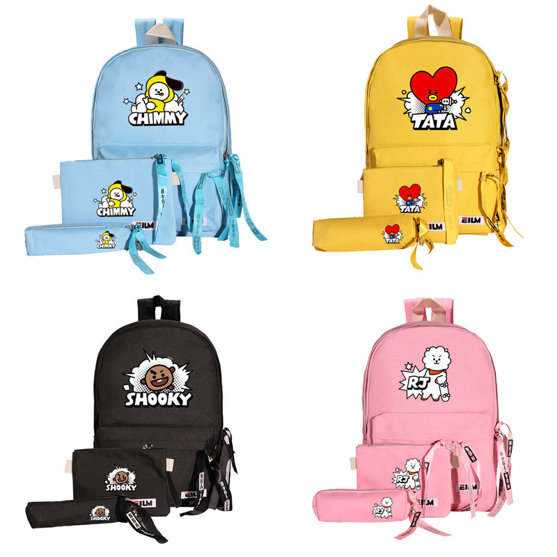 3 Sets Bag Fashion Canvas Backpack Women Cute Bag TATA VAN COOKY CHIMMY SHOOKY Vjin Jimin Jungkook J-hope Suga Rm S