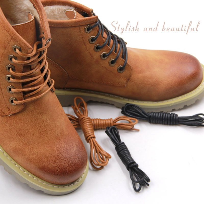1 Pair Waxed Cotton Shoelaces Round Leather Waterproof Shoe Laces Martin Boots Shoelace Shoestring Length 80/100/120/140CM P2