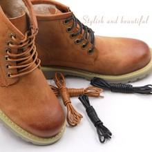 1 par encerado algodão cadarços de couro redondo à prova dwaterproof água sapatos botas martin cadarço cadarço comprimento 80/100/120/140cm p2