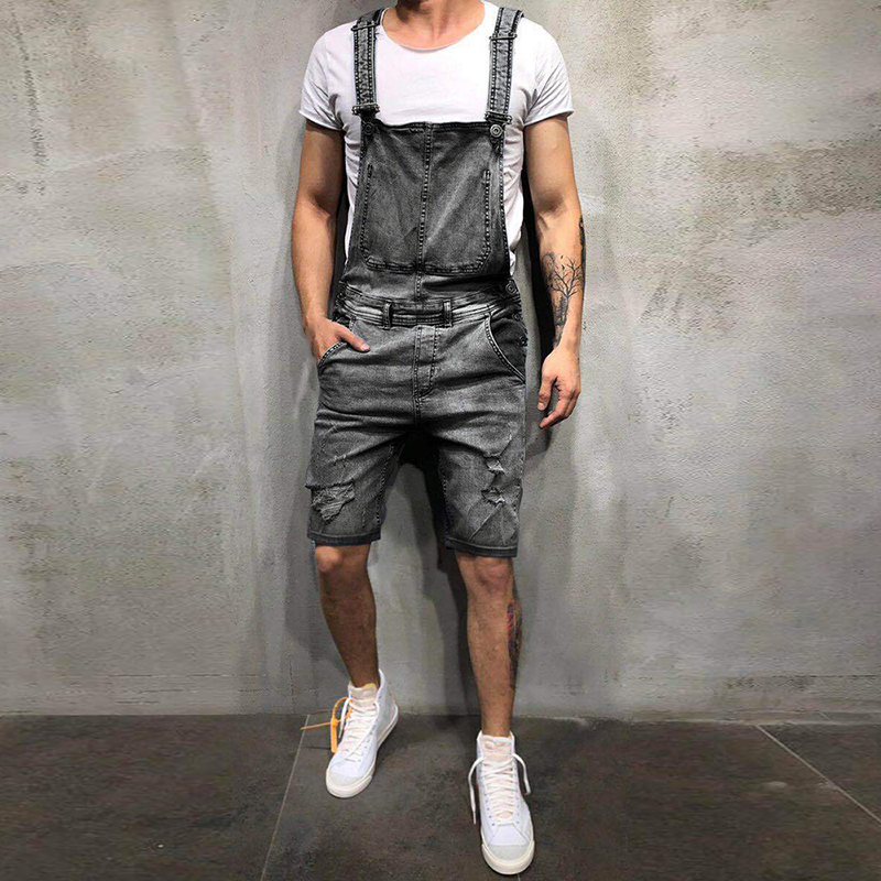 2019 Oversize Fashion Men's Ripped Jeans Jumpsuits Shorts Summer Hi Street Distressed Denim Bib Overalls For Man Suspender Pants