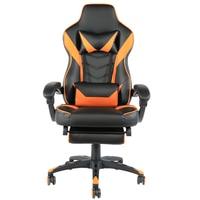 Silla giratoria de oficina de moda tipo C silla plegable de Nylon para carreras de pie con reposapiés negro y naranja de cuero PU de alta calidad