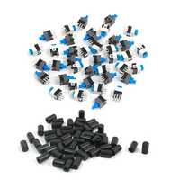 50Pcs Micro-Tactile Pushbutton Switch Cap Cover Protector Black 6X10mm & 40 Pcs 7 X 7mm PCB Tact Tactile Push Button Switch Self