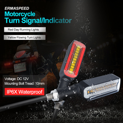 Universal Motorcycle LED Turn Signals Flowing Water DRL Waterproof Flasher Stop Tail Lamp Indicator Lightings Cafe Racer