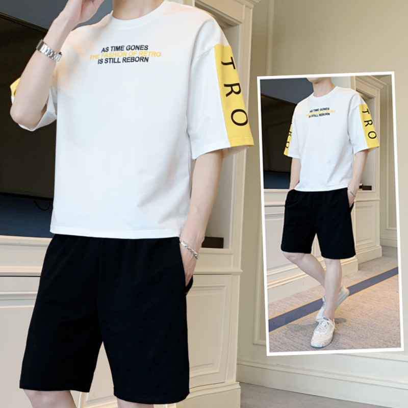Short Sleeve T-shirt MEN'S Suit Summer New Style Trend Teenager Fashion Short Shorts Sports Korean-style Casual Summer Wear