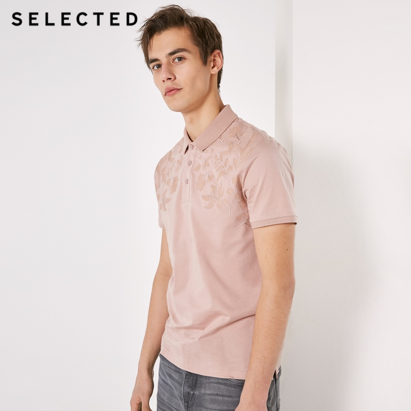 SELECTED Men's Embroidered Short-sleeved Turn-down Collar T-shirt S|419106509