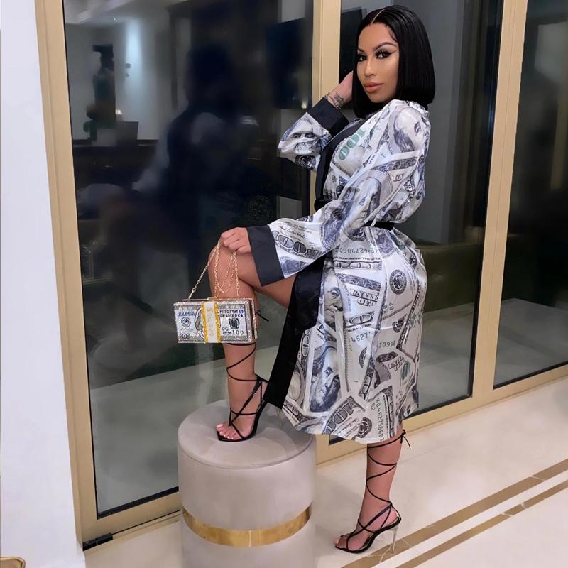 hirigin Aesthetic Cardigan Long Sleeve Midi Bandage Dress Money Pajamas Fall Clothes for Women 2020 Fashion Sexy Lounge Wear