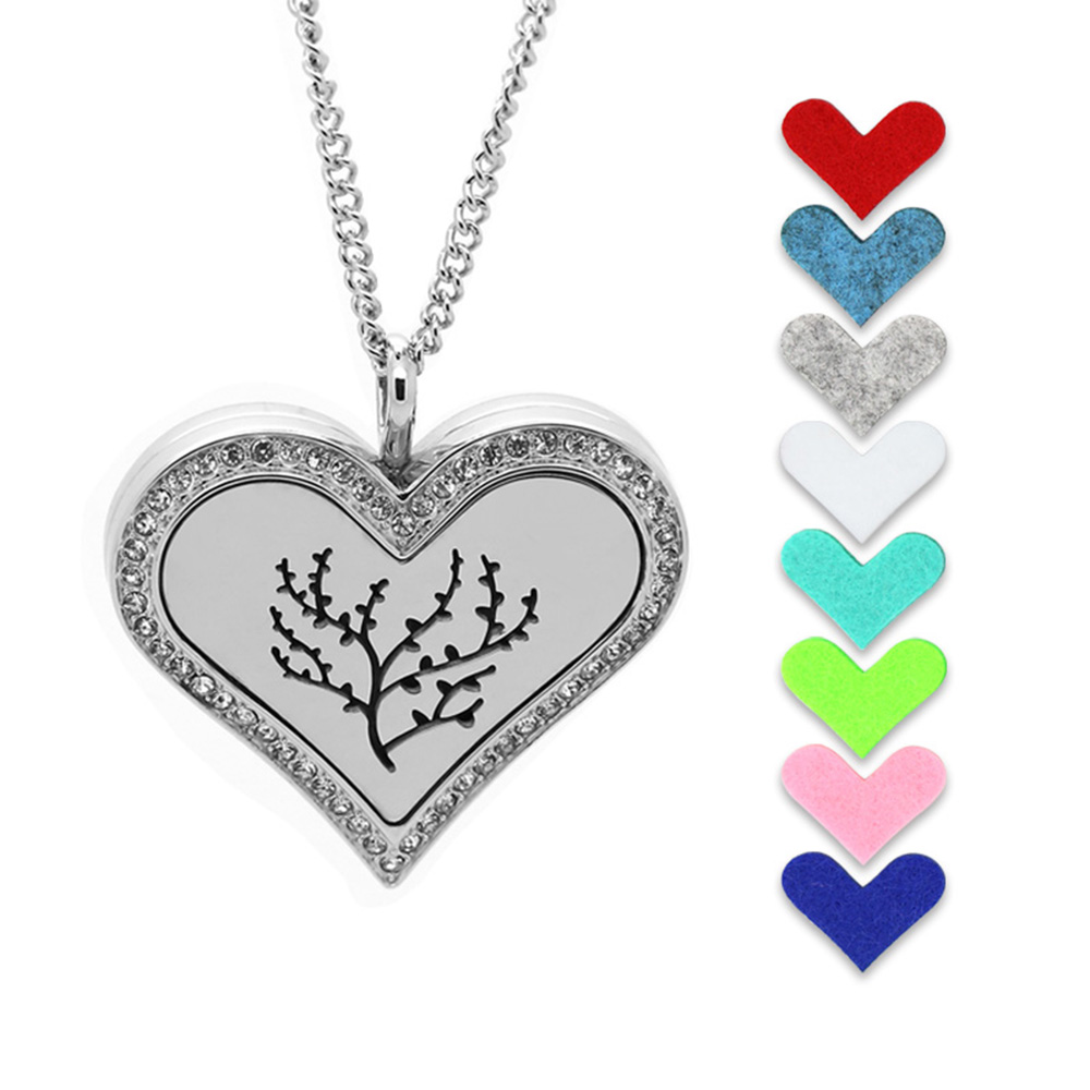 2016 Refillable Perfume Pendant Silver Heart Shape Hollow Tree Stainless Steel Essential Oil Diffuser Necklace Locket