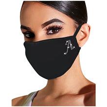 26 carta de impressão máscara de rosto adulto preto strass padrão lavável algodão máscaras boca reutilizável mascarillas proteção