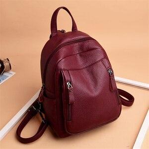Image 3 - Высококачественный Женский рюкзак VANDERWAH 3 в 1, женский кожаный рюкзак на молнии, нагрудная сумка, вместительная школьная сумка, дорожная сумка