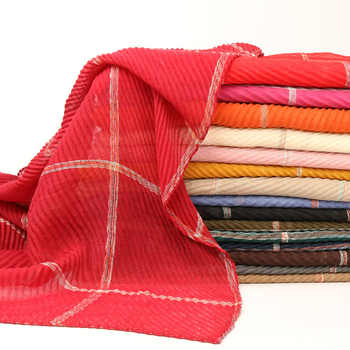 Wrinkle plaid viscose hijab scarf shawls pleat drape muslim scarves wrap headband 16 color scarves/scarf 200*90cm - DISCOUNT ITEM  15% OFF All Category