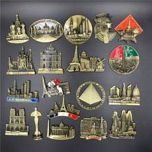купить 3d Stereo Metal Fridge Magnet Magnetic Refrigerator Stickers US Egypt Austria Spain Dubai Russia Shanghai Macau Souvenir Craft по цене 113.98 рублей