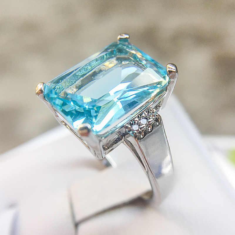 Big Ocean Blue CZ Cubic Zircon หิน 925 แหวนเงินแฟชั่นผู้หญิงแหวนหมั้นเงินสเตอร์ลิงเครื่องประดับของขวัญวันวาเลนไทน์