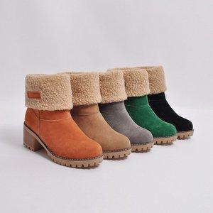 Image 3 - Cheap Sale 2019 Winter Women Fashion Ankle Boots Flock High Heel Short Booties For Ladies Big Size 43 Woman Botas Fur Warm Shoes