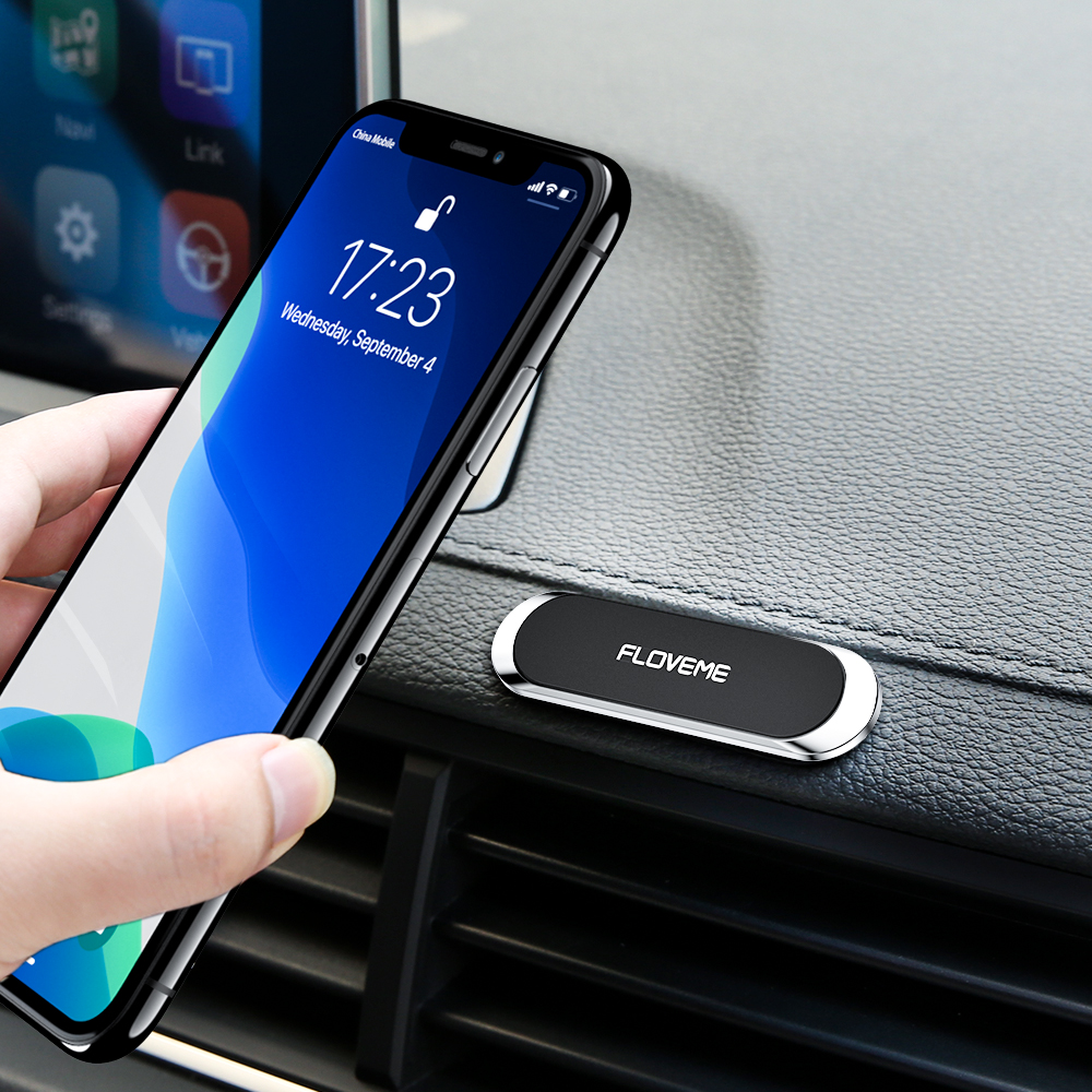 FLOVEME Mini Strip Shape Magnetic Car Phone Holder Stand For Phone In Car Magnet GPS Car Mount Dashboard Suporte Celular Stand