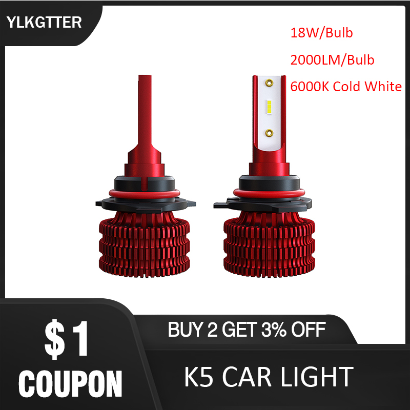 YLKGTTER Latest Upgrade H1 H4 <font><b>H7</b></font> H11/H8/H9 9005/HB3/H10 9006/HB4 Auto Car Headlight 2Bulb inside 18W <font><b>2000Lm</b></font> K5 LED Car Headlight image