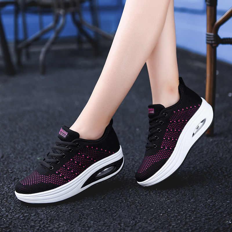 Femme Décontracté Respirant Course Lacet Baskets Basket Bascule Chaussures