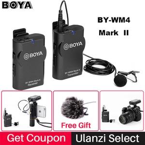 Image 2 - Boya BY WM4 Mark II/BY WM4 Pro 무선 스튜디오 마이크 Lavalier Lapel 인터뷰 마이크 for iPhone DSLR 카메라 믹서 보드