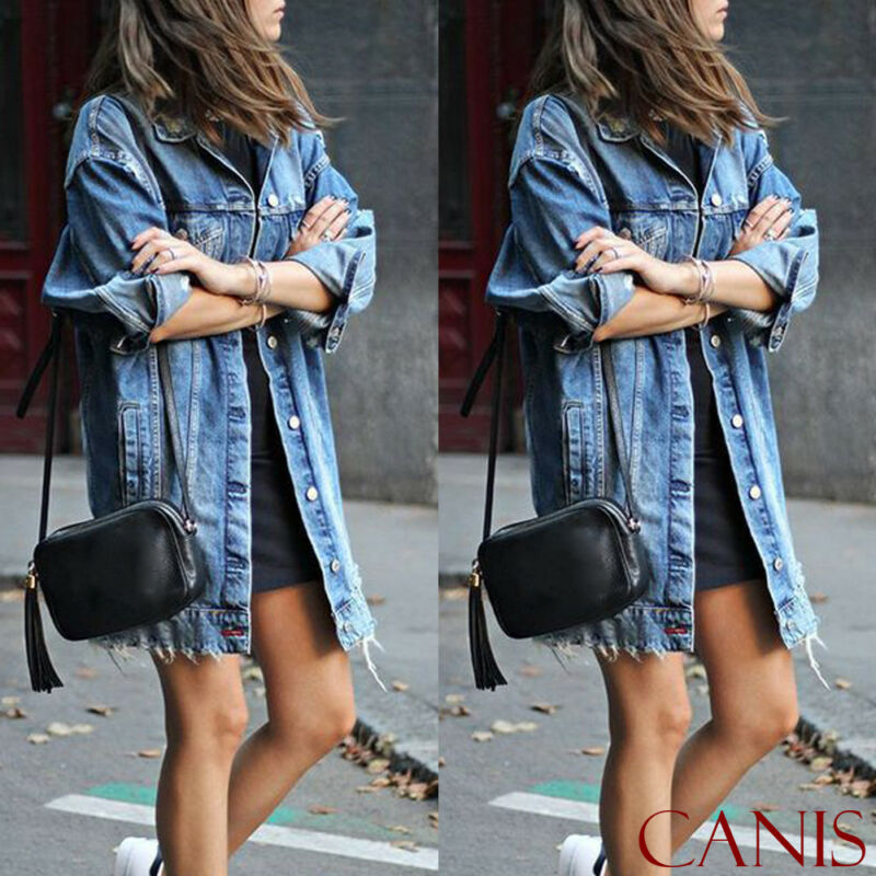 Hot 2019 Basic Long Jeans Coats Women Slim Ripped Denim Jacket Femme Elegant Vintage Frayed Jackets Outwear Casacos Feminino