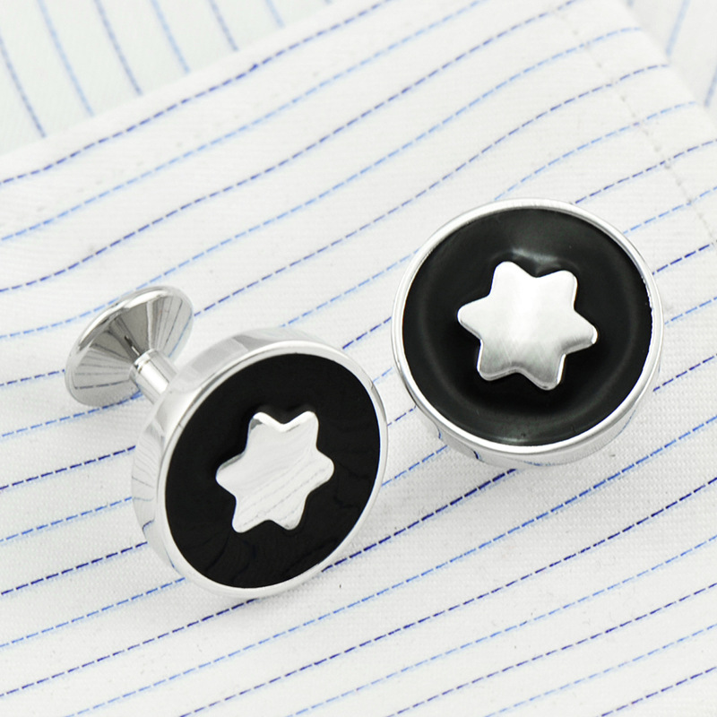 French Shirt Cufflinks Men's Daily Business Activities Banquet Wedding Gifts Simple Trendy Round Black Star Enamel Cuff Links