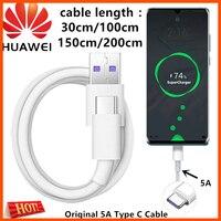 Original Huawei Cable de cargador 5A supercargador USB tipo C Cable de 30cm/100cm/150cm/200cm p20 p30 pro amigo 20 30 pro Honor /Nova 5 6