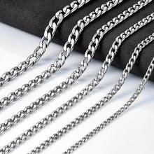 Men's Necklace Link-Chain Gifts Women Jewelry Cuban Steel-Tone Stainless-Steel Punk Boy