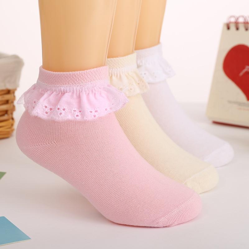 3 Pairs Autumn 1-11Y Kids Girls Socks With Lace Anti-slip Socks Breathable Mesh Short Socks White Pink Cotton Baby Princess Sock