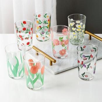 7 wzory kwiatowe 450Ml koreański tulipan Daisy lampka do wina kubek do soku drukowanie Rose Cosmos Flower kreatywny kubek do picia zestaw upominkowy tanie i dobre opinie LISM CN (pochodzenie) ROUND Ce ue Lfgb Szkło Wielu kolor Ekologiczne MC2091 Tumbler Juice Cup wine Glass Color Flower Lead-Free Crystal Glass Glass