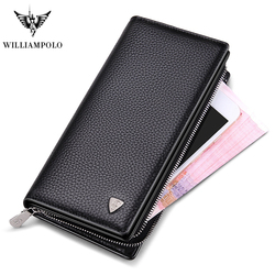 WilliamPOLO Mens Wallet Zipper Hasp Long Genuine Leather Business Phone with Strap Credit Cards Clutch Coin Wallet PL128