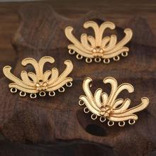 20pcs Brass Casted Flower Charms Tassel Connectors Quality G