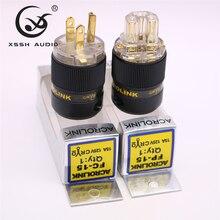 XSSH FP 15&FC 15 Hi End HIFI Pure Copper Plating Gold Electrical Connector 18mm AC Female Male Power US Plug IEC Socket