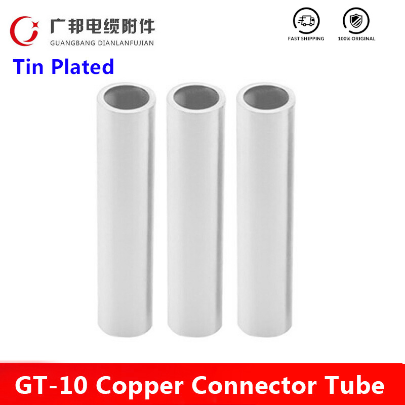 GT-10 Tin Plated Copper Connecting Terminal Copper Tube Tinned Wire Connector Cable Lug Cable Wire Tube Electrical Pipe
