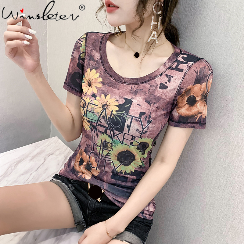2020 New Women T-shirts Casual Streetwear Floral Printed Tops Tee Summer Female Short Sleeve T shirt For Women Clothing T05209B