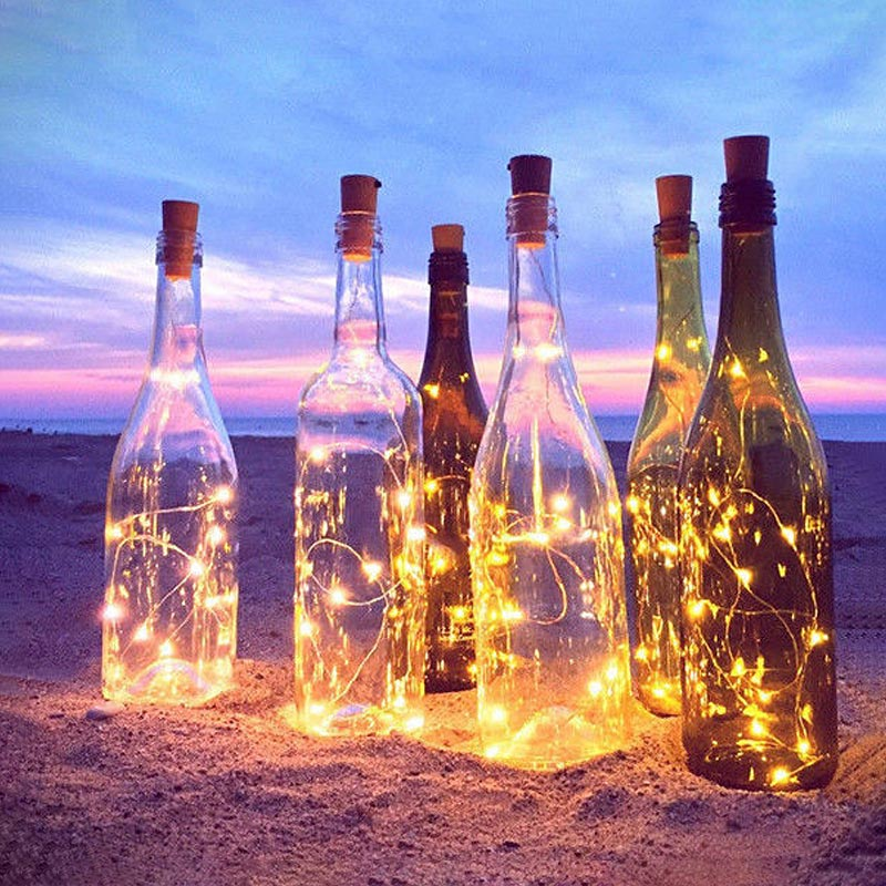 BRELONG Solar Cork Wine Bottle Stopper Copper Wire String Fairy Lamp Outdoor Party Wedding Decoration Holiday Lighting