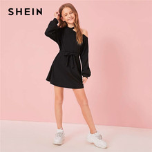 SHEIN Kiddie Black Solid Cut Out Shoulder Casual Dress With Belt Kids 2019 Autumn Asymmetrical Neck Lantern Sleeve Short Dresses(China)