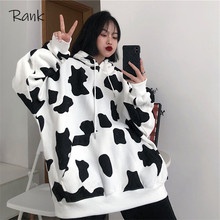 Jesienno-zimowa damska bluza z kapturem krowa z nadrukiem damska bluza z kapturem z długim rękawem moda damska bluzy z kapturem w stylu Casual damska topy z kapturem tanie tanio Poliester CN (pochodzenie) Wiosna jesień REGULAR Pełna STANDARD Tkane Swetry Zwierząt Streetwear Osób w wieku 18-35 lat