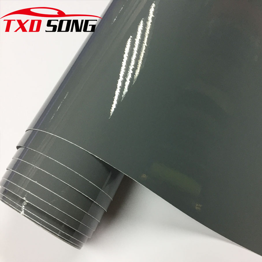 High Gloss Cement Gray Vinyl Film Super Shiny Glossy Vinyl Film Car Wrapping Foil  CAR STICKERS