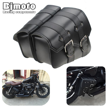 2PCS Universal Motorcycle PU Leather Saddle bags Cruiser Side Storage Tool Pouches Saddlebag For Harley Sportster XL883 XL1200 acz motorcycle leather saddle bags left right for honda yamaha harley xl883 xl1200 softail side tool bag