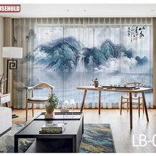 Modern New Chinese Ink Landscape Painting Tulle Curtains for Living Room Study High-end Bedroom Famous Hotel Tulle Curtain