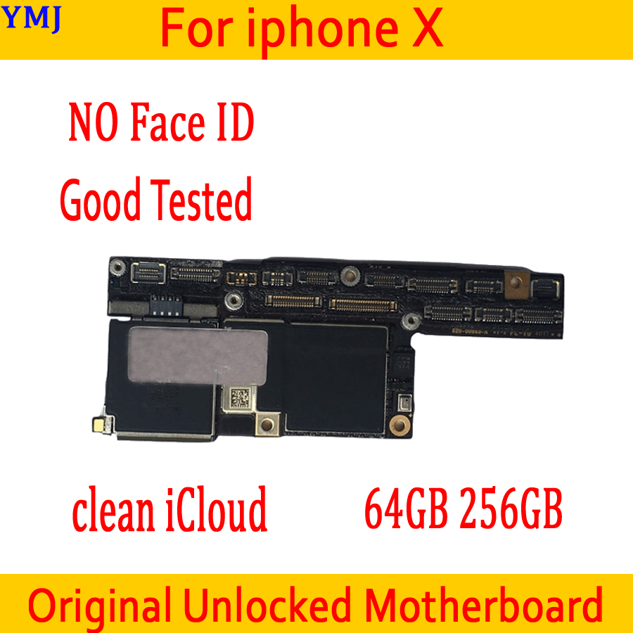 For <font><b>iphone</b></font> <font><b>X</b></font> Original <font><b>unlocked</b></font> <font><b>Motherboard</b></font> No <font><b>Face</b></font> <font><b>ID</b></font>,<font><b>with</b></font> IOS System Clean iCloud for <font><b>iphone</b></font> <font><b>X</b></font> Mainboard 64GB 256GB Good Tested image
