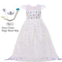 Летние кружевные Детские платья принцессы Эльзы для девочек