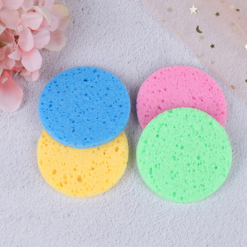 5pcs Natural Wood Round Solid Color Sponge Compress Cosmetic Puff Facial Washing Sponge Face Care Cleansing Makeup Tools NEW 1