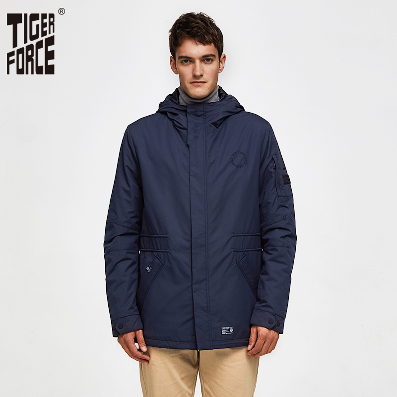 TIGER FORCE Men's Jacket Spring Double-layer Hooded Coat Cotton Padded Solid Jacket Men Medium-Long Casual Windbreaker Coat