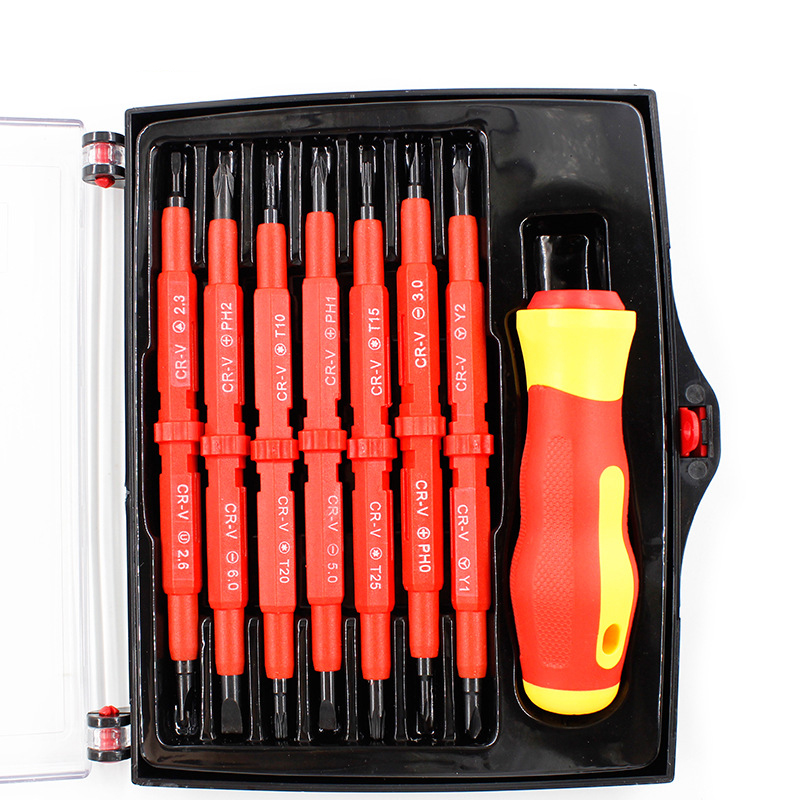 Купить с кэшбэком 14 IN 1 Screwdriver Set Multi-purpose Magnetic Electrican insulated Electric Hand scerwdriver set repair tools kit set