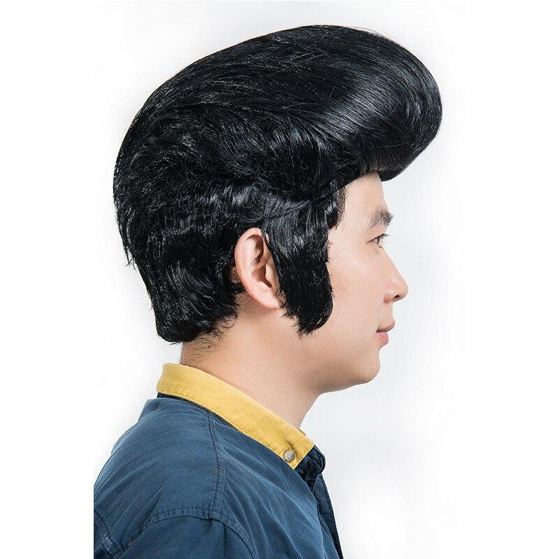 Halloween Mens Rock Singers Elvis Aron Presley Cosplay Wig Party  Punk Elvis Presley Styled Black Hair Wig Costumes