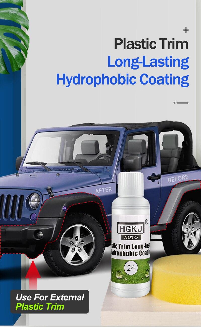 Hgkj AUTO-24-20ml guarnição de plástico de longa duração revestimento hidrofóbico restorer exterior do carro kit revestimento de guarnição cerâmica acessórios do carro