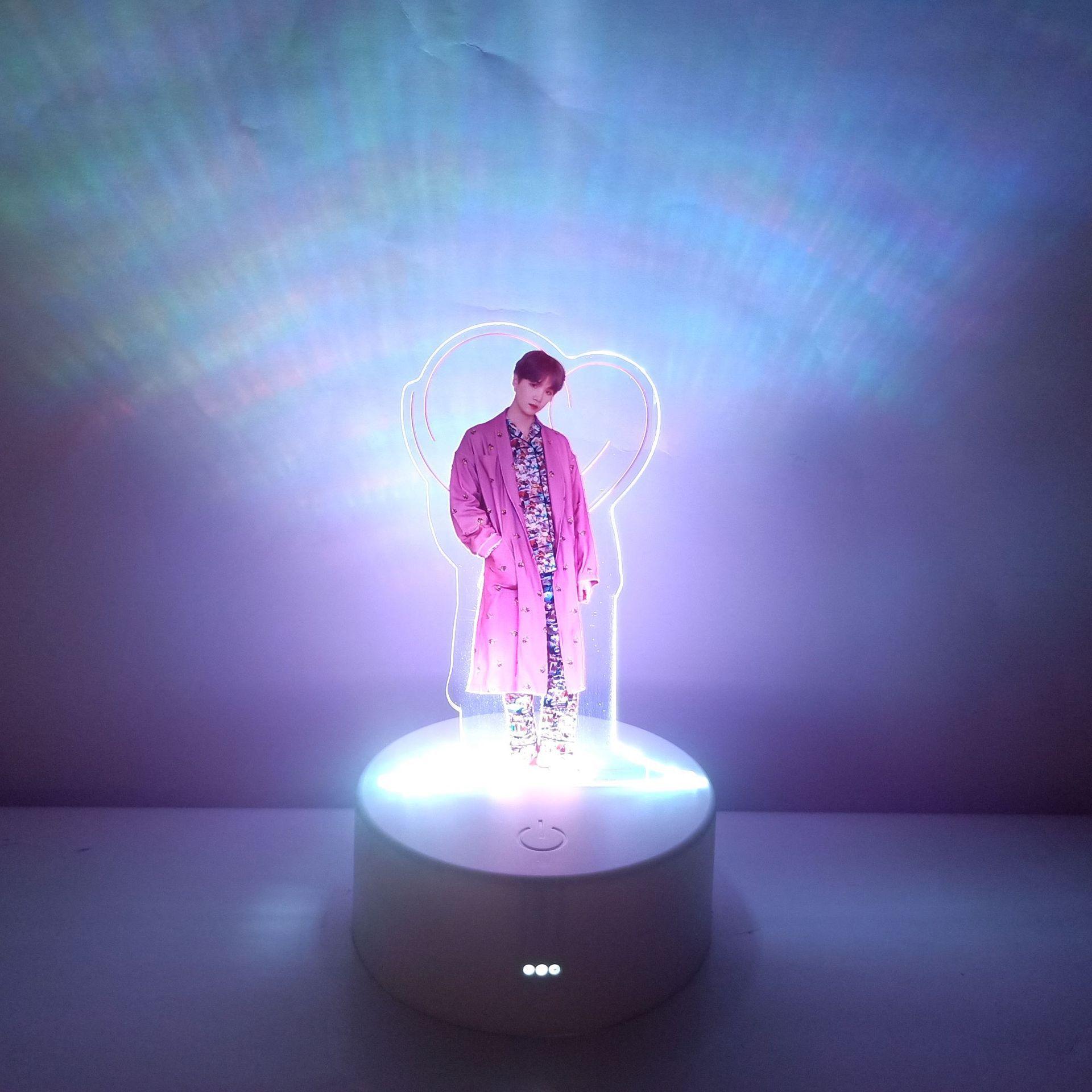 Creative KPOP Bangtan Boys LED Light Acrylic Standing Photo Stand On The Table Desktop Furnishing Kpop Bangtan Boys Supplies