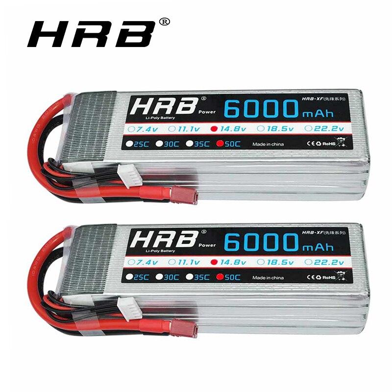 2pc 4S HRB Lipo 14.8V Bateria 6000mAh 50C com Deans T Plug para Trxe Barra X- maxx Carro Monstro RC Buggy Truggy 550 600 helicóptero